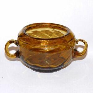 "Vintage Miniature Amber Glass Swirl Pattern Blown Open Sugar 2"""
