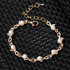 Women 18K Gold Plated Pearl Rhinestone Chain Bracelet Bangle