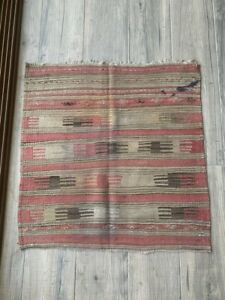 Vintage Handwoven Wool Kilim Rug 30 x 31 in Anatolian Authentic Small Square Rug