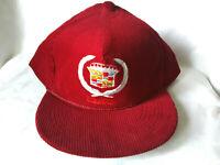 VTG Cadillac Dark Red Corduroy Men's Baseball Cap Dad Hat Adjustable Snapback