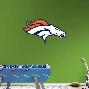"""Denver Broncos FATHEAD Primary Team Logo 32"""" x 18"""" NFL Wall Graphics Decal"""