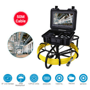 """9"""" 50M Pipe Drain Pipeline Inspection Cleaner Industrial Sewer Camera Video 8GB"""