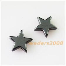 25 New Charms Black Hematite Gemstone Loose Star Flat Spacer Beads 10mm