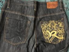 RocaWear Authentic Men's 34 W38 Wide Leg Inseam=34 Denim Jeans Black Gold Detail