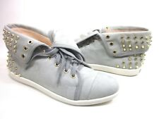BOUTIQUE 9 WOMEN'S KATREEN LEATHER SNEAKER,LIGHT GREY/MULTI,US SZ 7.5,MEDIUM,NEW