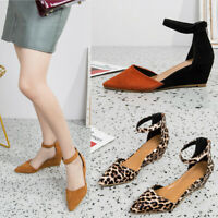 Women's Ladies Casual Pointed Toe Wedges Sandals Ankle Strap Zipper Party Shoes