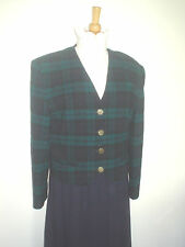 LADIES NAVY GREEN CHECK / TARTAN LEAD REIN JACKET SIZE 14