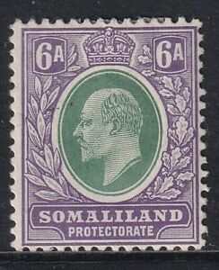 SOMALILAND PROTECTORATE EDVII SG51a - 6a green & violet - mounted mint