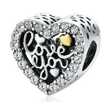 Love You Heart Charm Openwork Silver Plated With Cz