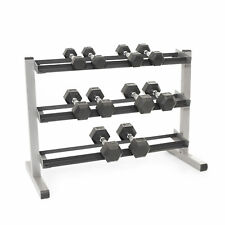 Body-Solid 3 Tier Rack & Bodypower Rubber Hex Dumbbells 3,4,6,8 & 10kg