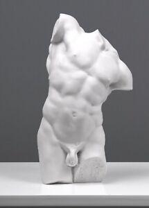 Adonis Torso Marble Statue - Study of a Male Torso (12.2 inch /31 cm)