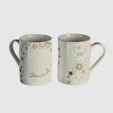 Weihnachten*Porzellan*Tasse*Becher*Mug*Sternstunden*weiß&gold*silberne Sterne*