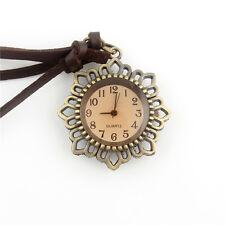 Vintage Bronze Flower Pocket Watch Quartz Pendant Leather Chain Necklace Gift