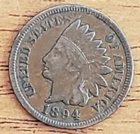 1894 Indian Head One Cent 1c F-VF  Check It Out!!! KM# 90a #AA077