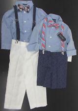 Infant/Toddler/Boys Nautica $50-$59.5 4pc Blue/Navy w/ Suspenders Suits Sz 12m-7