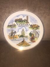 Vintage Nebraska Souvenir Collector Hanging Plate Gold Trim 7.25 Inches Used