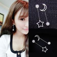 Korean Women Rhinestone Ear Stud Earring Dangle Star Moon Lady Jewelrys
