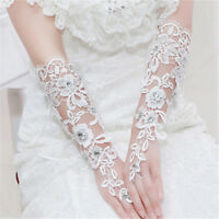 Vintage Fingerless Bridal Gloves Fabulous Lace Diamond Flower Glov  ZP  sf