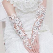 Vintage Fingerless Bridal Gloves Fabulous Lace Diamond Flower Glov  ZP