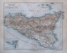 1889 Sizilien - alte Landkarte Karte old map