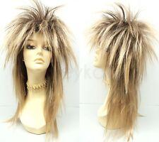 Golden Blond Punk Rock Wig Long Straight Spiky David Bowie Jareth Goblin King
