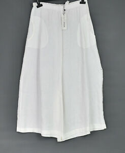 Gershon Bram White Linen Palazzo Trousers Size M/L