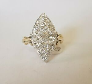 18ct Gold And Silver Old Cut Diamond Vintage Ring 1.96cts