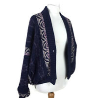 Vintage Bill Baber Wool Purple Oversize  Bomber Blogger 1990s Cardigan Size M
