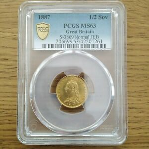 1887 HALF SOVEREIGN PCGS MS63