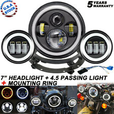 """Fit Harley Electra Glide Classic 7"""" inch LED Headlight + 4.5"""" Passing Lights"""