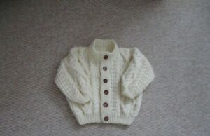 Hand Knitted Baby Clothes, Traditional Cream Aran Cardigan, 1-2 years.