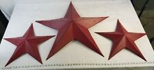 Metal Home Decor Red Barn Star Set Of 3
