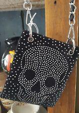 Black Leather Studded Skeleton Crossbody Handbag/Purse