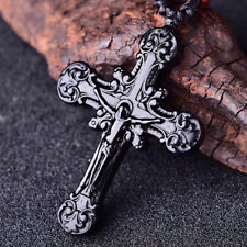 Necklace Charm Jewelry Beads Amulet Natural Black Obsidian Cross Pendant Jesus