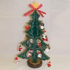 Premier 27cm Wooden Christmas Tree with 25 Ornaments - Red or Green