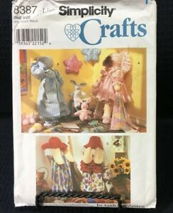 "Simplicity Crafts Pattern 8387 Time Out 25"" Rabbits And Dolls With Clothes Uncut"
