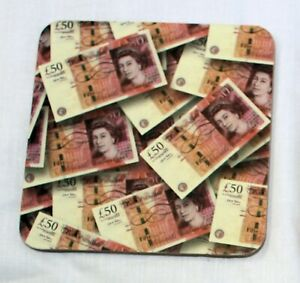 Coasters - Set of 4 coasters with fifty pound note gift caravan home tent