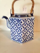Blue and white hexagonal tea pot with bamboo handle