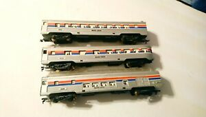 Life Like HO Train Lot of 3 Amtrak Pullman Streamlined Lighted Passenger Cars
