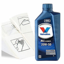Engine Oil Top Up 1 LITRE Valvoline All-Climate 20w-50 1L +Gloves,Wipes,Funnel