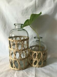"""Set of 2 GLASS VASES wrapped in BAMBOO ~  NEW 10"""" and 7"""" Vases FARMHOUSE DECOR"""