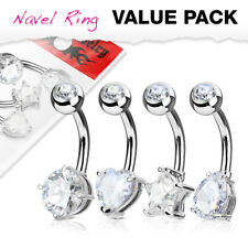 4pc Value Pack Heart, Round, Star, Tear Drop CZ Gem Belly Rings Navel Naval