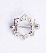 New Stainless Steel Nipple Piercing Pretty Full Shield Bar Silver Jewellery