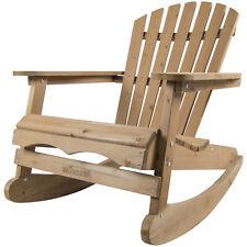 Woodside Rocking Adirondack Chair Outdoor Wooden Garden Patio Furniture