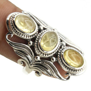 CITRINE Gemstone Ring Size 6 925 Solid Sterling Silver HANDMADE Fine Jewelry