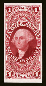 #R69P $1 1862-71 Red Inland Exchange XF MNH Imperf Plate Proof on India VF Rare
