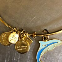 Alex Ani Dolphin Ocean Life Blue Bangle Bracelet Made USA Energy Goldtone Gift