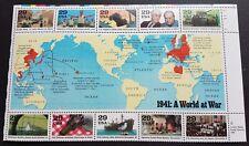 USA 1991 A World at War in 1941 Stamps Block (upper) of 10v Mint NH 美国发行世界二战邮票