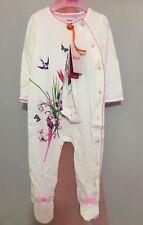 New Baby Girls Designer Ted Baker White Oasis Floral Print Sleep Suit 12-18m