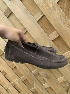 Mens Geox Brown Suede Moccasins Driving Shoes Size 42 uk 8